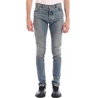 Balmain Th15230z1656aa Men-apos;s Light Blue Cotton Jeans
