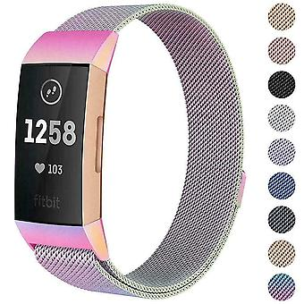 """Para Fitbit Charge 4 /Charge 3 Correa Milanese Wrist Band Acero Inoxidable Magnético[Grande (6.7""""-9.3""""),Rainbow]"""