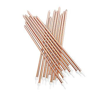Extra Tall Candles Metallic Rose Gold With Holders x 16 Birthday