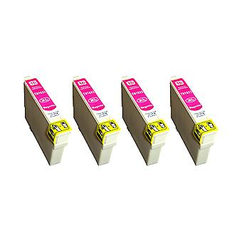 RudyTwos 4x Replacement for Epson 16XL(Pen) Ink Unit Magenta Compatible with Workforce WF-2010W, WF-2510WF, WF-2520NF, WF-2530WF, WF-2540W, WF-2540WF, WF-2630WF, WF-2650DWF, WF-2660DWF, WF-2750DWF, WF