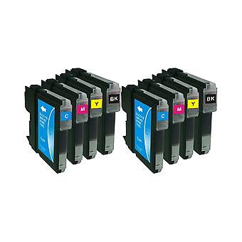 RudyTwos 2x Replacement for Brother LC61/LC980/LC65/LC1100 Set Ink Unit Black Cyan Yellow & Magenta (4 Pack) Compatible with MFC-250C, MFC-255CW, MFC-290C, MFC-295CN, MFC-297C, MFC-490CN, MFCJ615W, MF
