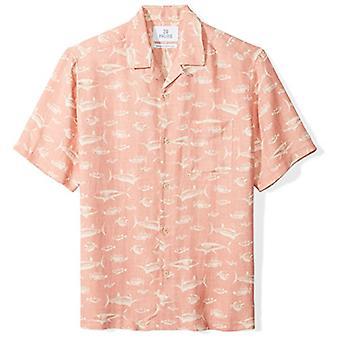 28 Palms Men's Relaxed-Fit Silk/Linen Tropical Hawaiian Shirt, Washed Pink Fi...
