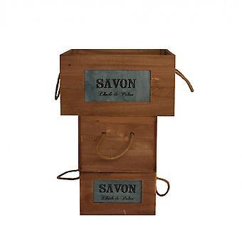 Rebecca Möbler Set 3 Lådor Brown Wood Box 19x35x28