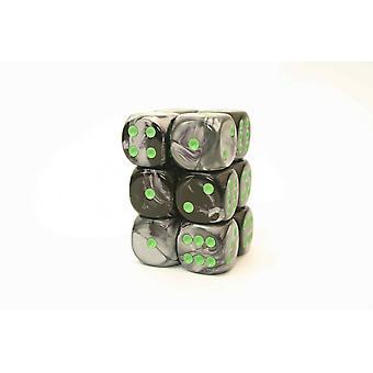 Chessex Gemini 16mm D6 x 12 - Black-Grey w/green
