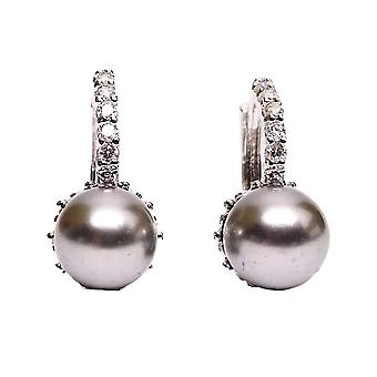 14K or plaqué perle noire perle solitaire cz cerceaux boucles d'oreilles pour femme