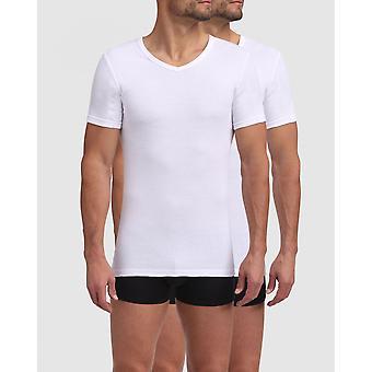 Pack De 2 T-shirts Homme Col V Blancs