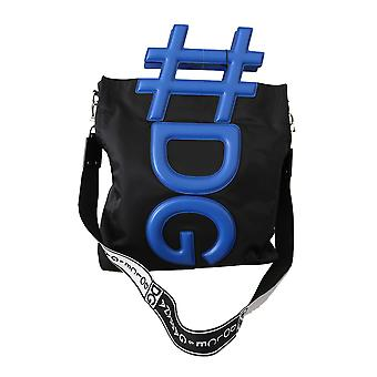 Black blue dg men shoulder strap shopping tote bag