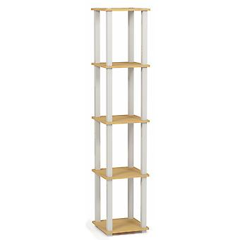 Furinno Turn-S-Tube 5-Tier Corner Square Rack Display Shelf with Square Tube, Beech/White, 18026BE/WH