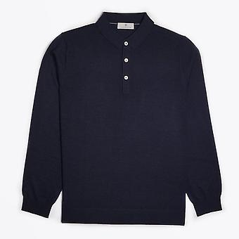 Thomas Maine  - Merino Polo Shirt - Navy