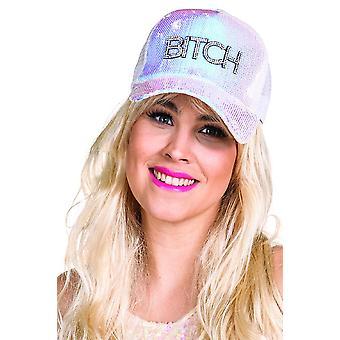 Bitch Cap weiß schimmernd Pailletten Kappe Mütze Glitzercap Strass