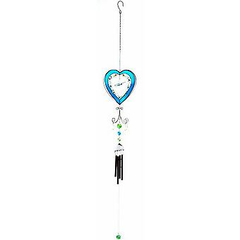 Something Different Blue Heart With Butterfly Wind Chime