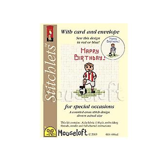 Little Footballer Stitchlets Counted Cross Stitch Card Making Kit