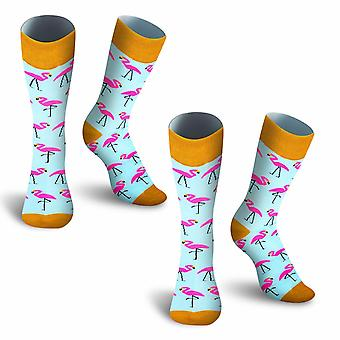 Mens Cotton Casual Flamingo Printed Socks - Turquoise
