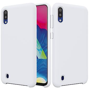 Solid Color Liquid Silicone Shockproof Full Coverage Case for Galaxy M10 (Blanc)