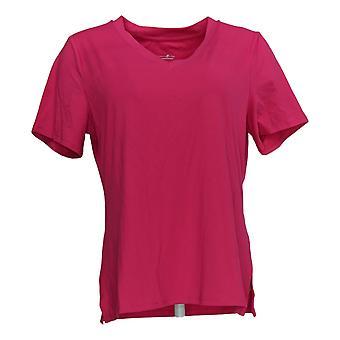 Elizabeth & Clarke Women's Top V-Neck Short Sleeve Tee Pink