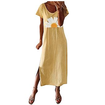 Women's Round Neck, Short Sleeve Casual Vintage Bohemian Maxi Dress