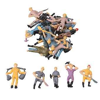 25 x People Figures Painted Railroad Workers Model 1/87 Scale Kits