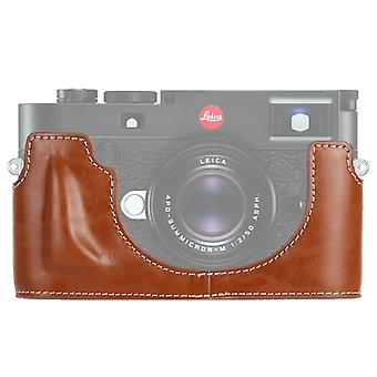 1/4 inch Thread PU Leather Camera Half Case Base for Leica M10 (Brown)