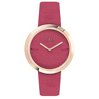 Furla Women'S My Piper Pink Dial  Calfskin Leather Watch