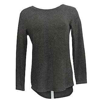 Lisa Rinna Collection Women's Top (XXS)Hacci Knit Curved Hem Gray A341720
