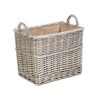 Small Rectangular Hessian Lined Wicker Log Storage Basket