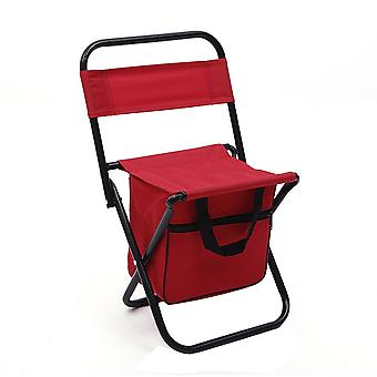 Red Oxford Cloth PVC Waterproof Coating Steel Pipe Multifunctional Folding Chair