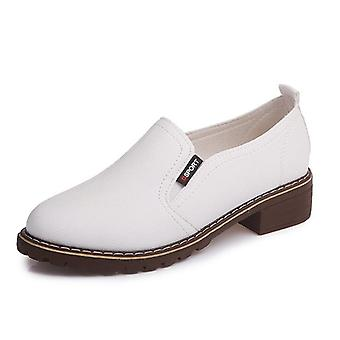 Flat & Round Shoes,toe Lace-up Oxford Shoes Woman Genuine Leather Brogue Women