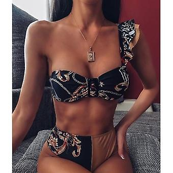 Heart Chain Printed Ruffle One Shoulder Bikinis Set
