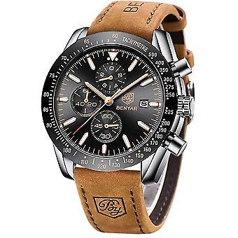 BENYAR - Stylish Wrist Watch for Men, Genuine Leather Strap Watches