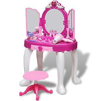 vidaXL kinderkleedtafel met 3 spiegels en licht/geluid