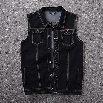 Pánské džínové vesty, ležérní klasický styl, slim fit, džíny bunda, kabát