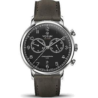 VOTUM - Reloj Unisex - VINTAGE CHRONOGRAPH - VINTAGE - V10.10.20.05 - correa de cuero - gris-marrón