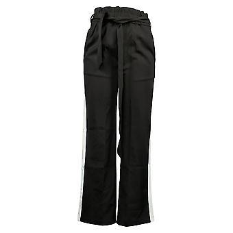 G.I.L.I. Women's Petite Pants Paperbag Waist Wide Leg Black A368157