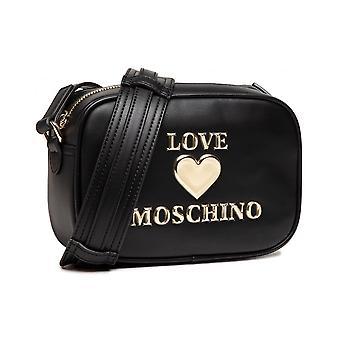 תיק נשים אהבה מוסקינו כתף / כתף כתף עור מזויף שחור / זהב Bs21mo40 Jc4059