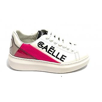 Women's Sneakers With Zeppa Gaëlle In White Faux Leather/ Fuchsia D21ge02