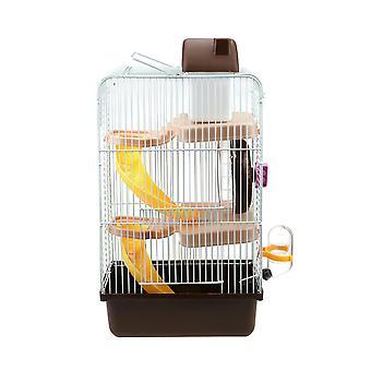 1pc Hamster Bur med tre lag Brun
