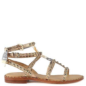 Ash Footwear Patchouli Studded Leather Sandals Rose Gold