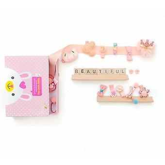 Vaaleanpunainen Lasten Hiustarvikkeet Box - 18kpl - Setti