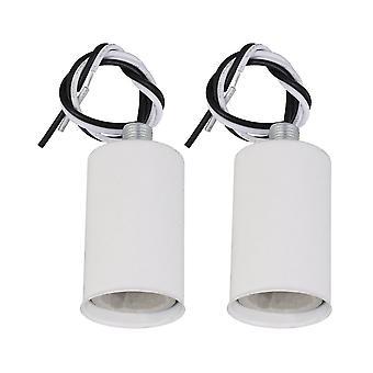2xE14 Soporte de enchufe de lámpara zócalo cerámico zócalo de tornillo 6.08x3.1x3.1cm blanco