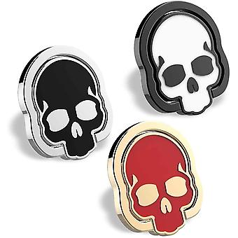 homEdge Handy Totenkopf Ring Griff, Set von 3 Packungen 360 Verstellbarer Fingerring Halter,