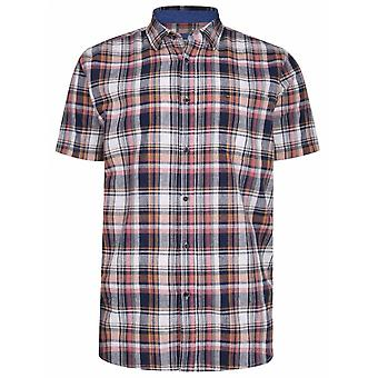 PETER GRIBBY Peter Gribby Mens Big Size Linen Check Button Down Collar Short Sleeve Shirt Coral