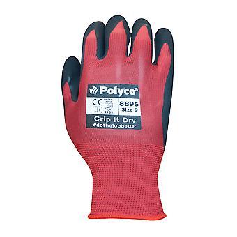 POLYCO 8897 Grip SL Nylon a maglia guanto con rivestimento di lattice di spugna taglia 10