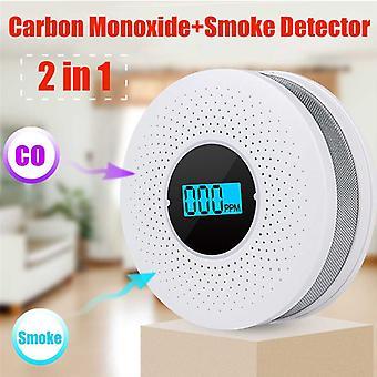2 in 1 LED Digital Gas Smoke Alarm Co Carbon Monoxide Detector Voice Warn Sensor Home Security Protection