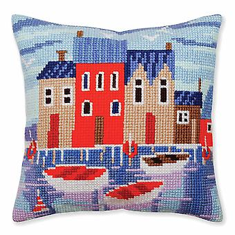 Samling d'Art Cross Stitch Kit: Kudde: Fridfull hamn
