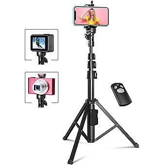HanFei 133cm Erweiterbar Selfie Stick Stativ mit Bluetooth-Fernauslöser, Handy Stativ Kompatibel mit