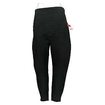 Spanx Women's Leggings Petite Ankle Length Ponte Hem Slit Black A369379