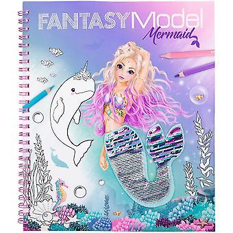 Fantasy Model Colouring Book Sequins Mermaid