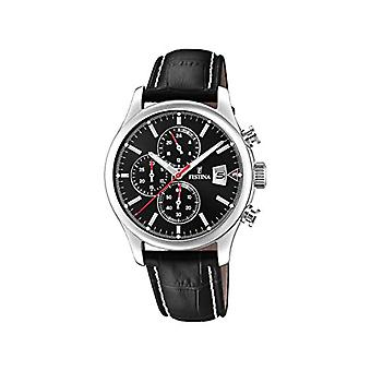 Festina Men's Quartz Chronograph Clock with Leather Strap F20375/3