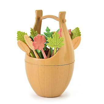 Mini wooden bucket fruit fork set, with 16pcs fruit stick