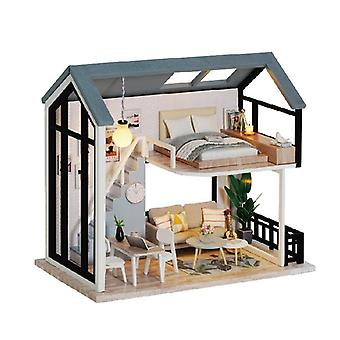 Diy nukkekoti miniatyyrisarja huonekaluilla, 3d puinen miniatyyritalo pölypeitteisellä, miniatyyrinukkejen talosarja